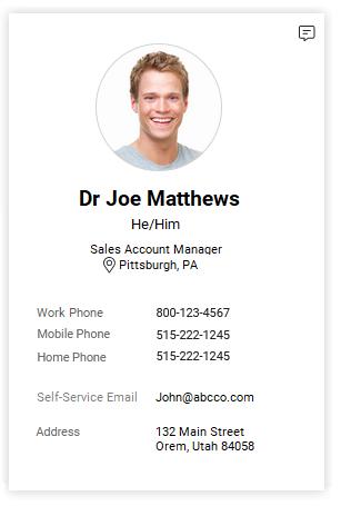 Employee Contact Card screenshot