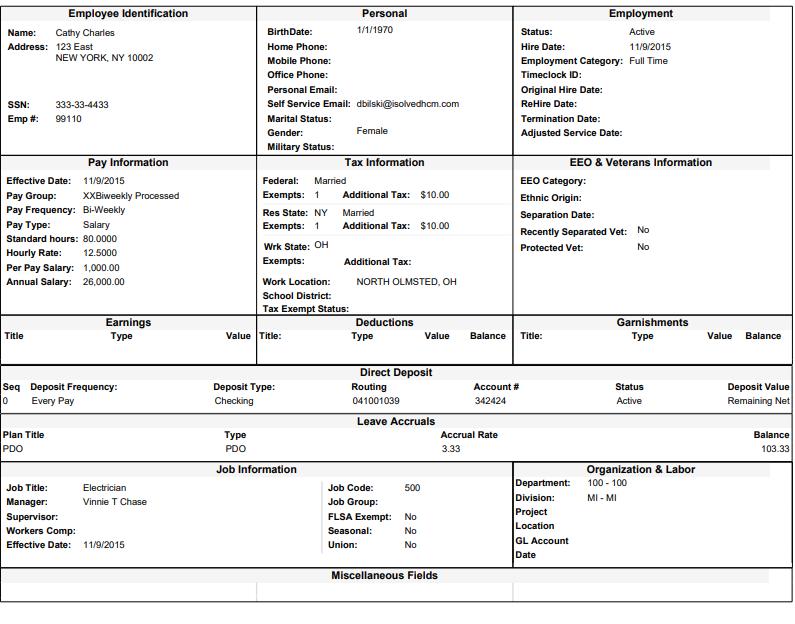 Employee Profile Report