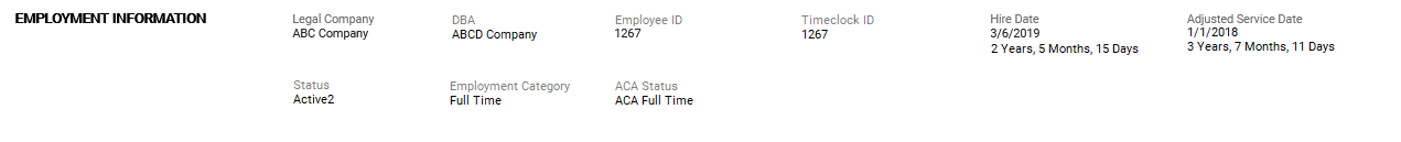 Employment Information screenshot